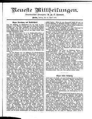 Neueste Mittheilungen vom 21.04.1893