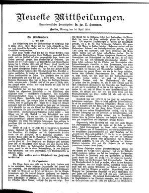 Neueste Mittheilungen vom 24.04.1893