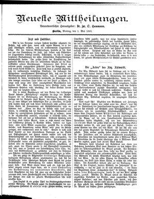 Neueste Mittheilungen vom 01.05.1893