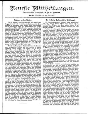 Neueste Mittheilungen vom 29.06.1893