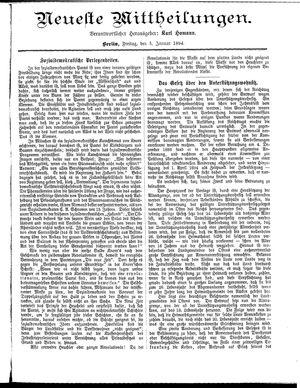 Neueste Mittheilungen vom 05.01.1894