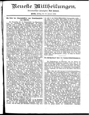 Neueste Mittheilungen vom 19.01.1894