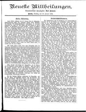Neueste Mittheilungen vom 23.01.1894