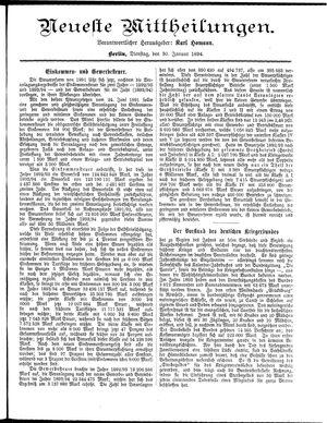 Neueste Mittheilungen vom 30.01.1894