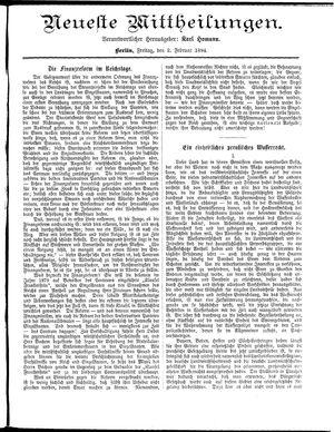 Neueste Mittheilungen vom 02.02.1894