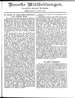 Neueste Mittheilungen vom 09.02.1894
