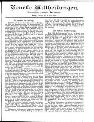 Neueste Mittheilungen vom 06.03.1894