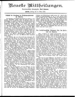 Neueste Mittheilungen vom 16.03.1894