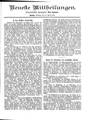 Neueste Mittheilungen vom 10.04.1894