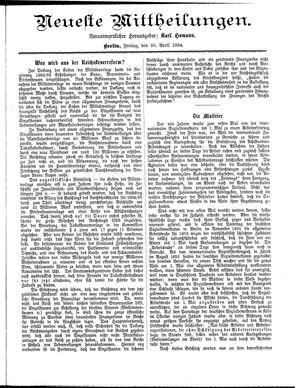 Neueste Mittheilungen vom 20.04.1894