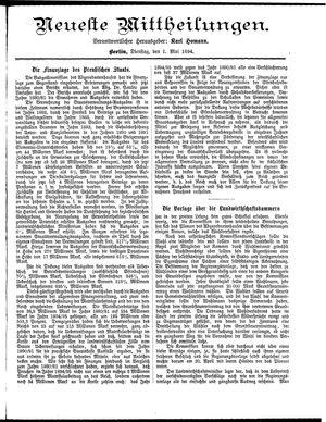 Neueste Mittheilungen on May 1, 1894