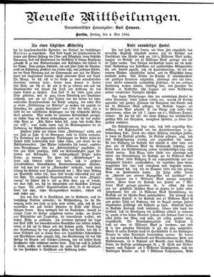 Neueste Mittheilungen vom 04.05.1894