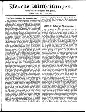 Neueste Mittheilungen vom 11.05.1894