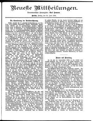 Neueste Mittheilungen vom 22.06.1894