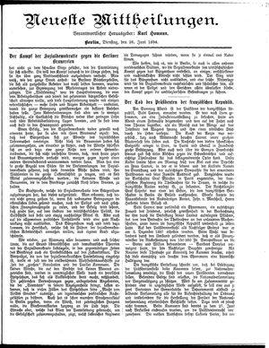 Neueste Mittheilungen vom 26.06.1894