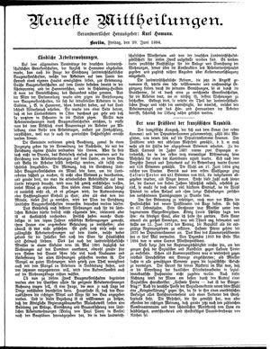 Neueste Mittheilungen vom 29.06.1894