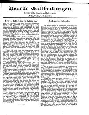 Neueste Mittheilungen vom 03.07.1894