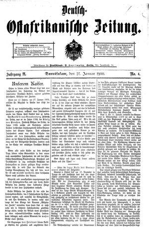 Deutsch-Ostafrikanische Zeitung vom 27.01.1900