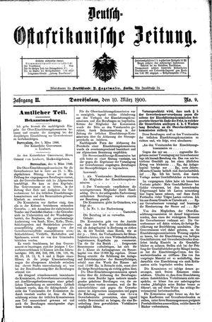 Deutsch-Ostafrikanische Zeitung vom 10.03.1900