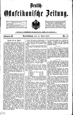 Deutsch-Ostafrikanische Zeitung vom 21.04.1900