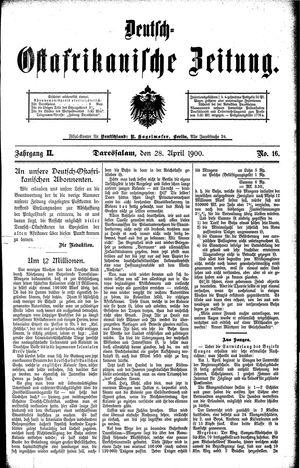 Deutsch-Ostafrikanische Zeitung vom 28.04.1900