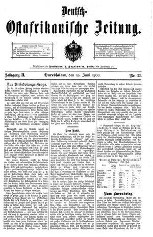 Deutsch-Ostafrikanische Zeitung vom 16.06.1900