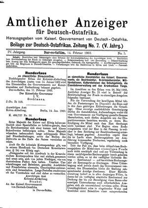 Deutsch-Ostafrikanische Zeitung vom 14.02.1903