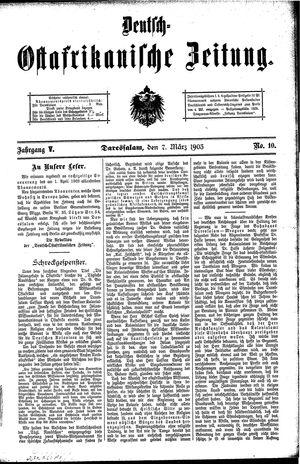 Deutsch-Ostafrikanische Zeitung vom 07.03.1903