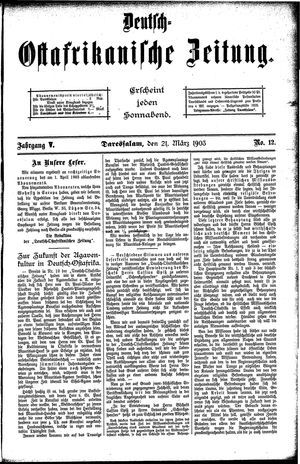 Deutsch-Ostafrikanische Zeitung on Mar 21, 1903