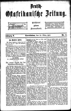 Deutsch-Ostafrikanische Zeitung vom 28.03.1903