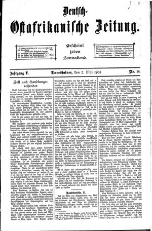 Deutsch-Ostafrikanische Zeitung vom 02.05.1903
