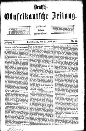Deutsch-Ostafrikanische Zeitung vom 20.06.1903