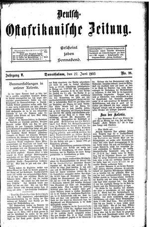 Deutsch-Ostafrikanische Zeitung vom 27.06.1903