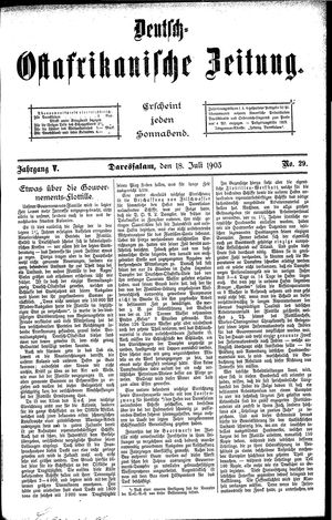 Deutsch-Ostafrikanische Zeitung vom 18.07.1903