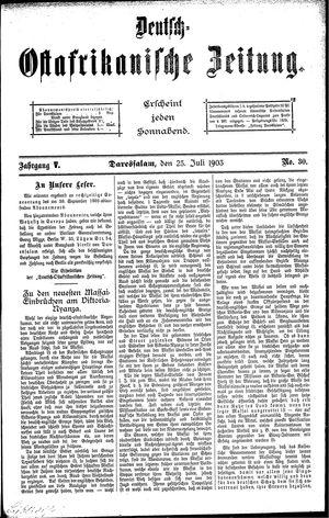 Deutsch-Ostafrikanische Zeitung vom 25.07.1903