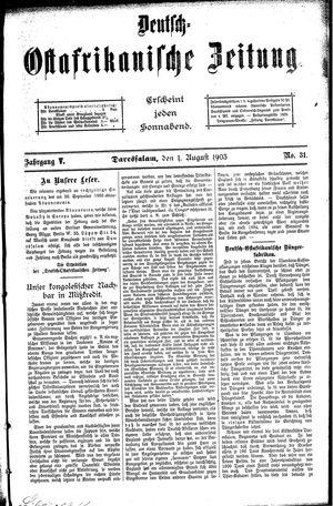 Deutsch-Ostafrikanische Zeitung vom 01.08.1903