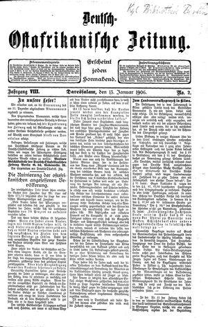 Deutsch-Ostafrikanische Zeitung vom 13.01.1906