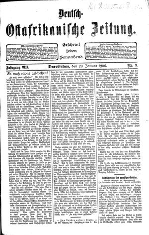 Deutsch-Ostafrikanische Zeitung vom 20.01.1906