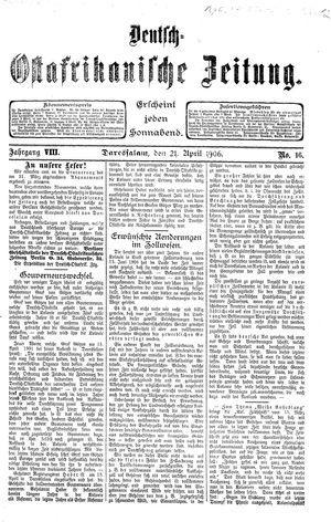 Deutsch-Ostafrikanische Zeitung vom 21.04.1906