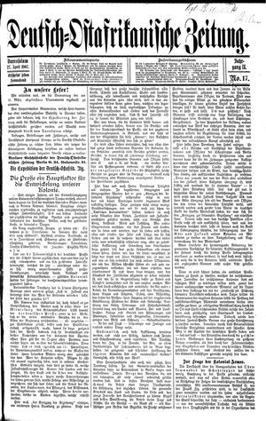 Deutsch-Ostafrikanische Zeitung vom 27.04.1907