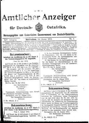 Deutsch-Ostafrikanische Zeitung vom 18.01.1913