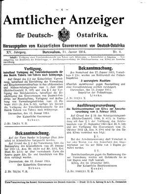Deutsch-Ostafrikanische Zeitung on Jan 14, 1914