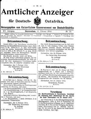 Deutsch-Ostafrikanische Zeitung vom 11.02.1914