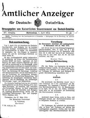 Deutsch-Ostafrikanische Zeitung vom 01.04.1914