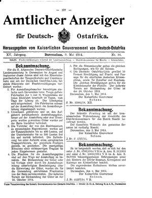 Deutsch-Ostafrikanische Zeitung vom 09.05.1914