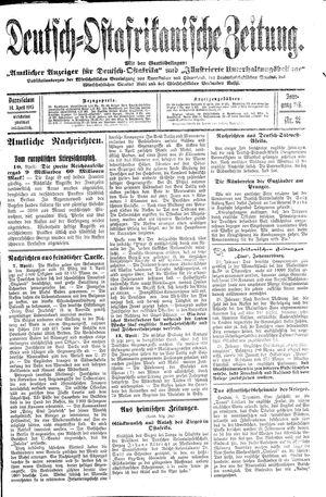 Deutsch-Ostafrikanische Zeitung vom 14.04.1915