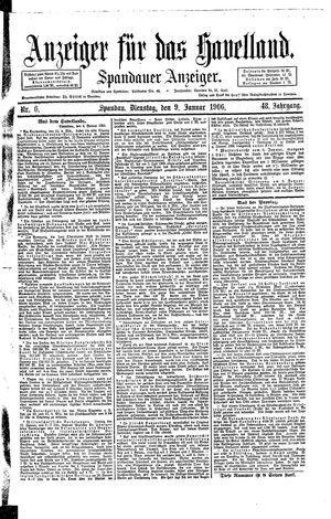 Anzeiger für das Havelland vom 09.01.1906