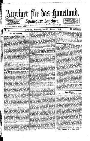 Anzeiger für das Havelland vom 10.01.1906