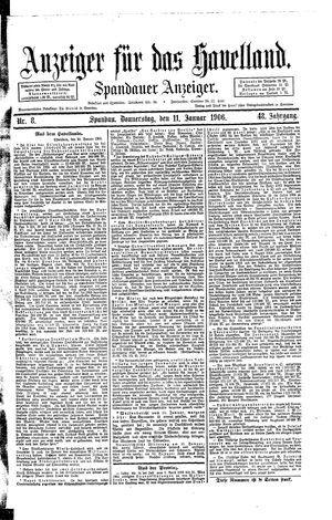 Anzeiger für das Havelland vom 11.01.1906