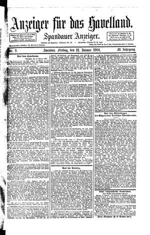 Anzeiger für das Havelland vom 12.01.1906